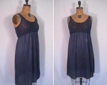 hand dyed vintage slip dress - smoke • upcycled slip dress • revamped vintage slip