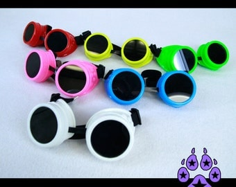 Pawstar MAD SCIENTIST Plastic Frame Color Goggles Interchangeable Lenses Modular Custom Cyber Cybergoth Cyberpunk Punk Goth Steampunk 5410