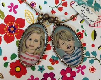 Custom Hand painted necklace with your children .Two pendants.