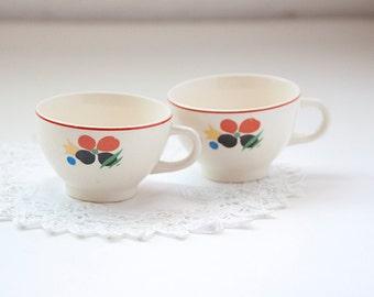 Universal Pottery Circus Tea Cups,  Mod Floral Print