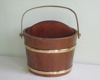 Vintage Wood bucket Pail Magazine Holder