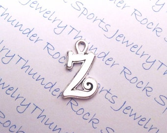 Antique Silver Plated Curlz Letter Z Initial Charms Pendants