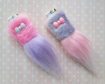 Cute Bic Lighter Case Pastel Goth Kawaii Girly Lighter, Fairy Kei Lighter Holder, Furry Lighter Case Pink Lilac, 1 OR BOTH, Faux Fur