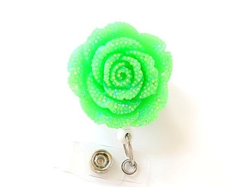 Lime Glitter Rose - Retractable ID Badge Holders - Flower Badge Reel - Designer ID Reel - Nurse Gift - Pretty Name Badge Clip - BadgeBlooms