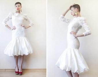 Off white lace long sleeve low back midi fishtail mermaid wedding dress