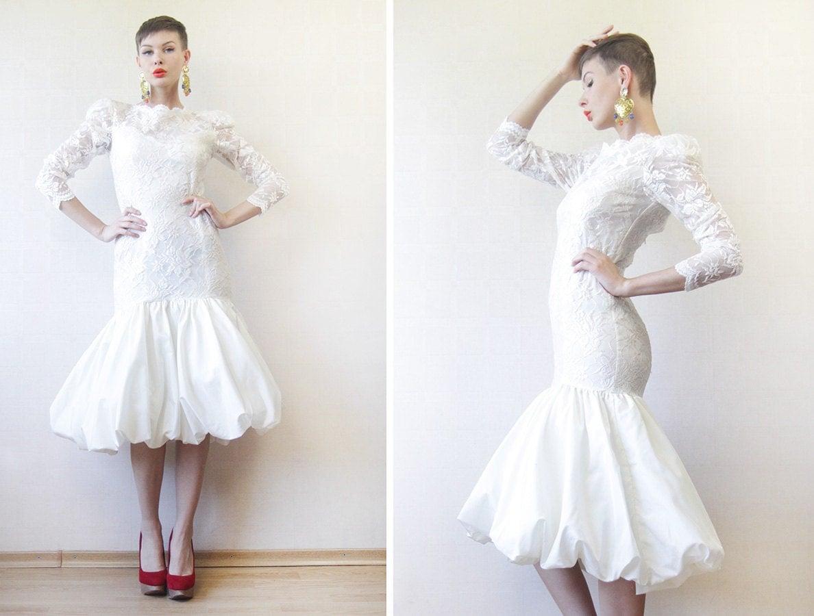 vintage off white lace long sleeve low midi wedding dress midi hobble fishtail skirt mermaid wedding dress zoom