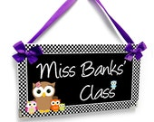 black checkerboard teacher gift door sign classroom owls themed signs class owl customizable wall plaque - P308