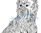 Cairn Terrier - Coloring Book Page -  Download - Love Dogs -Sheltie- Coloring Books for Adults