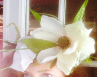 Beautiful one of a kind white flower wedding crown! Natural rustic boho hair wreath!