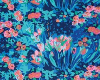 Amy Butler Fabric - 1 Fat Quarter Meadow Blooms in Midnight / Violette ships from Australia