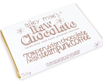 Raw Chocolate Bar 70% Peruvian Chocolate with Steampunk Coffee 50g
