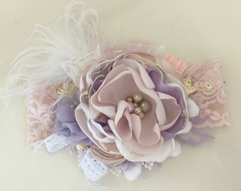 Baby Headbands-Newborn Headband-Flower Girl Headband-Headband-Lace Baby Headbands-Bows-Cream Headband-Baby hair Bows