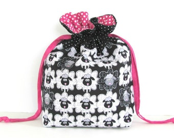 Sheep Knitting Bag Yarn Knitting Project Bag, Socks Bag, WIP Drawstring Knitting Tote Black White Pink Cinch Bag