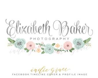 Custom Premade logo design Watercolor Floral Logo Photography or Boutique Logo