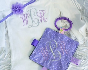 Baby girls monogrammed bodysuit, and Matching Headband and crinkle toy.  Baby shower gift, Lavender and gray as shown