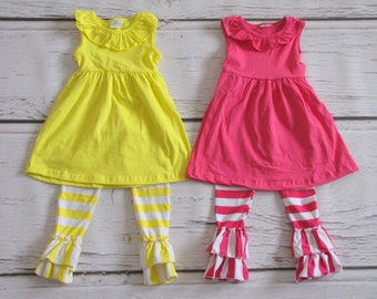 Girls Ruffled Pants and Matching Ruffled Shirt, sizes 1T, 2T, 3T, 4T, 5T, 6+7T