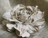 Large (14 cm) Soft Beige Leather Rose Flower Corsage Brooch