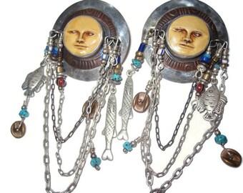 Tabra Talisman Post Earrings with Fish