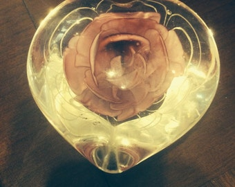vintage handblown glass heart-shaped pink rose paperweight sculpture free shipping sale