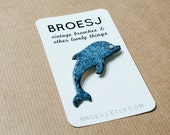 Dolphin Brooch Pin Enamel Jewelry