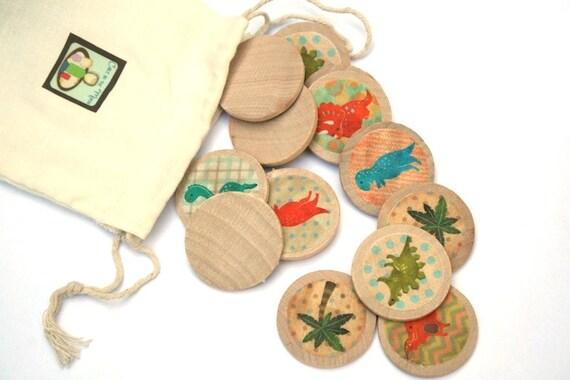 Dinosaur Toys -  Wooden Matching Game - Montessori Toys - Waldorf Toy - Eco Friendly Wooden - Travel Game