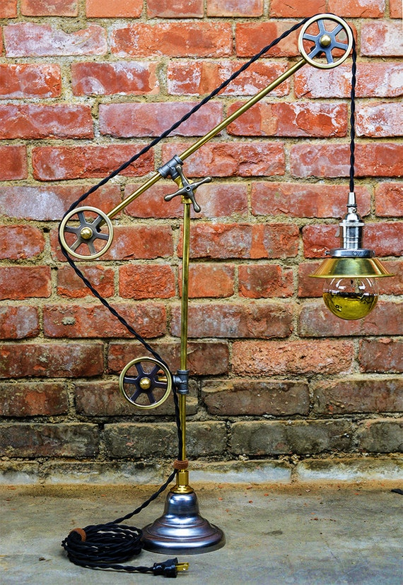 pulley table light steampunk pulley lamp