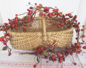 Vintage fruits garland, Wall hanging, Antique crown or table decor, 1940, Home decor, France