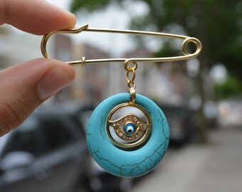 Evil Eye Turquoise Charm Safety pin brooch