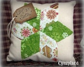 Green Whimsical Christmas Star Pillow