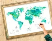 Wedding Guest Book Alternative Wedding Ideas - Green, Mint, Watercolor, Personalized Guest Book World Map - Gift Idea - Sea Spray Color