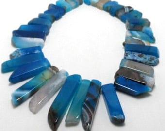 New! bright cobalt agate sticks - top drilled - five pieces