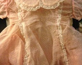 Handmade Pink Sheer Chenille Baby Dress with Pink Satin Slip