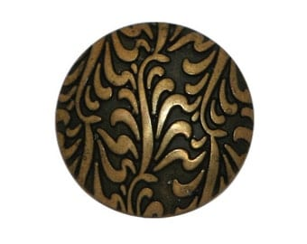 6 Fronds 3/4 inch ( 19 mm ) Metal Buttons Antique Brass Color