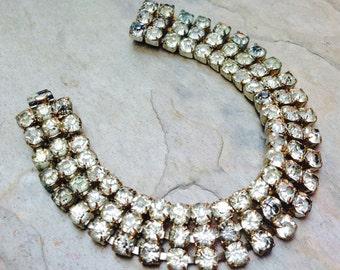Vintage Czech Bracelet Czechoslovakia Art Deco Bridal Rhinestone 3 Row