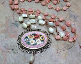 Micro Mosaic Necklace Pink Bridal MOP Quartz Gemstone