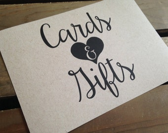 Wedding Signage - Cards and Gifts Sign - Reception - Recycled - Eco Friendly
