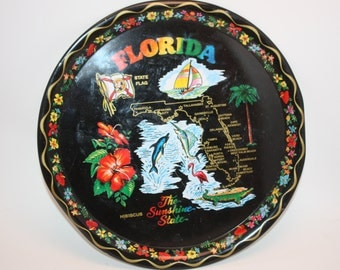 Vintage Florida Black Tin Souvenir Serving Tray Collectible, Vintage Condition, State Map and Points Of Interest