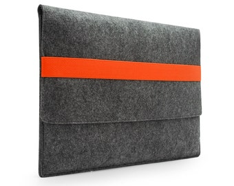 "Custom size Felt Laptop bag Macbook Case Macbook Pro Macbook Air Sleeve 13"" Laptop Case 11'' 15'' Laptop Bag with Yellow / Orange Band E1148"