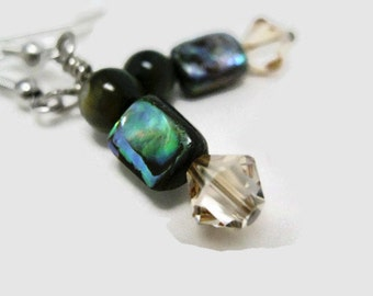 Abalone Dangle and Drop Earrings Swarovski crystal shell beadwork handmade hypoallergenic earring wires traditional and beach style