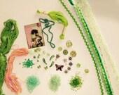 Green Crazy Quilt (CQ) Embellishment Kit