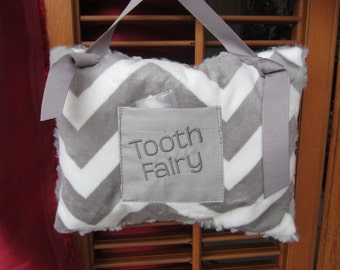 "Tooth Fairy Pillow: Grey Chevron Minky, 6"" X 9"", READY TO SHIP"