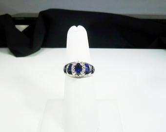 Ladies, Estate, Vintage, 10 karat, White, Gold,  Sapphire, Diamond, Ring