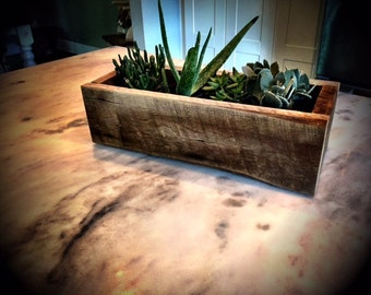 Rustic Wood Planter Box (Monogram option for Wedding Center Piece, Planter Box, etc) -Small Size
