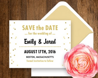 Printable Save the Date Girly Gold Confetti - Weddings Save the Date Postcard Template INSTANT DOWNLOAD Editable PDF file for self printing