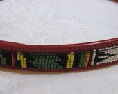 vintage red leather beaded belt southwest small