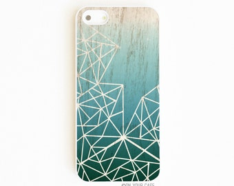 iPhone 5 Case. iPhone 5S Case. Deep Teal Ombre Geometric. Phone Case. Phone Cases. Case for iPhone 5. iPhone case.