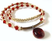 Antique Chinese Coin Hemp Necklace With Ruby Red Glass Beads And Ruby Red Glass Cabochon