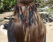 On sale- Tribal Pheasant Feather Headband in Natural Browns With Wooden Beads