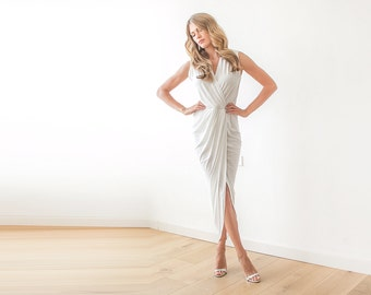 Ivory wrap dress , Bridal tulip gown , Sleeveless wedding maxi simple dress , Beach wedding dress