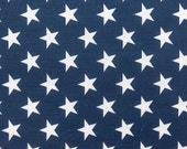 "Poly Cotton Print White Stars on Navy Background 60"" Fabric by the Yard - 1 Yard"